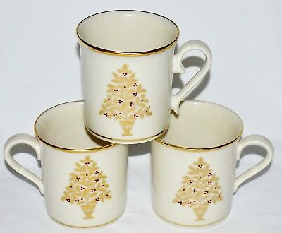 Lenox Set Of 3 Eternal Christmas 10 ounce Mugs Made In The USA XLNT