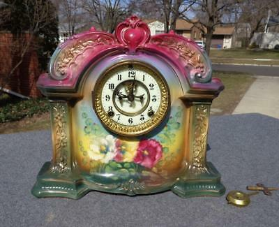 Ansonia Royal Bonn Porcelain China Red Violet Porcelain Shelf Mantle Clock NICE