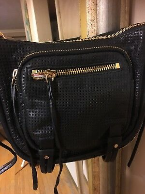 She Lo Black Perforated Leather Rise Above Zip Cross Body Handbag Super Nice