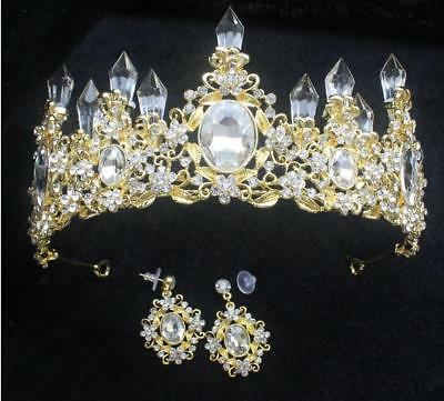 """2.95"""" High Crystal Bar Gold Adult Large Crown Tiara Wedding Prom Party Pageant"""