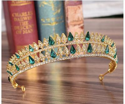 Exquisite Green Crystal Rhinestone Tiara Crown Prom Pageant Bridal wedding Gold