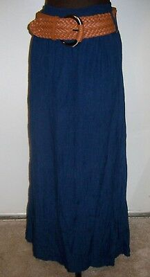 Western Gypsy Boho Hippie Peasant Flare Long Half Lined Belted Skirt Size L Navy