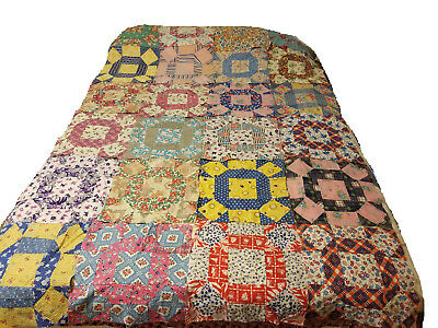 1940's Quilt Blocks (20) ~ Very Few Repeating Fabrics ~ Hand Sewed ~ Squares