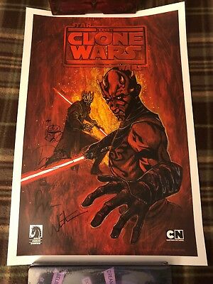 Star Wars Clone Wars Sith Hunters Print  Signed & Remarked By Dave Filoni 18x12