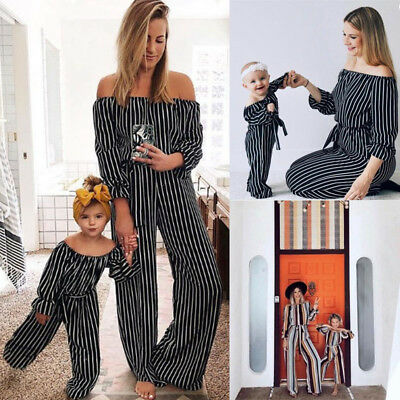 New Women Girl Jumpsuit Mother Daughter Clothes Family Matching Jumpsuits Outfit