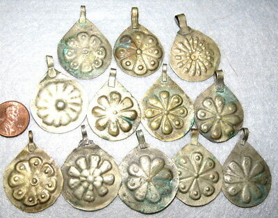 11 Nomadic Repousse Silver Pendants Beads Belly Dance Sew Ons 6 Types