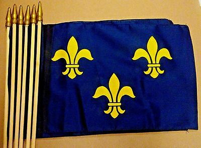 "6 ea 12""x18"" Cotton Hemmed Border CAPETIAN FRANCE Flags on 32"" Wood Stick Sticks"