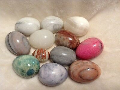 Lot of 12, Polished Marble/Stone Eggs.