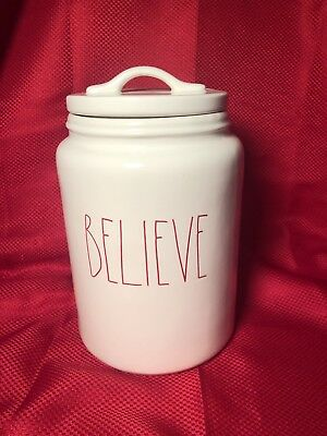 Rae Dunn Believe Christmas Canister Red Letters Large Size Ll Container Rare Htf