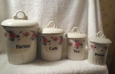 Vintage French Ceramic Canister Set Art Deco Roses Pink Gray Canisters