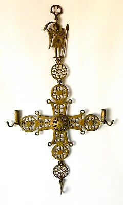 Antique Wall Hanging Brass Cross Candle Holder Byzantine Coptic Christian Angel
