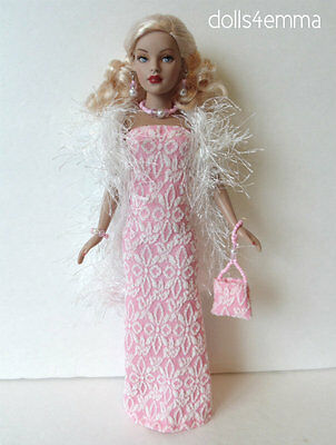 TINY KITTY Doll Clothes BOA, GOWN,  PURSE & JEWELRY Handmade Fashion NO DOLL d4e