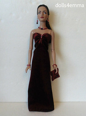 "Burgundy Gown, Purse & Jewelry for 16"" TYLER SYDNEY clothes Fashion NO DOLL d4e"