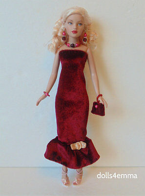 TINY KITTY CLOTHES Holiday DRESS, PURSE & JEWELRY handmade Fashion NO DOLL d4e