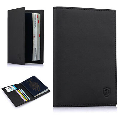 RFID Blocking Genuine Leather 6 Slot Passport Card ID Holder Wallet Money Cover
