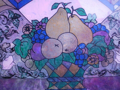 Vintage Painted Stained Glass Fruits Bowl Window Hanging