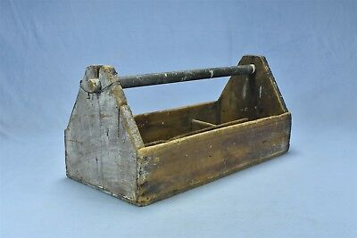 Antique PRIMITIVE HANDLED TOOL CARRIER TOTE DIVIDED COMPARTMENTS SHABBY 05090