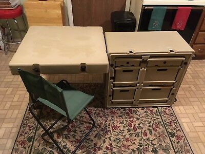 Pelican Hardigg Portable Military Field Desk Usgi Army Table Tan W/ Casters