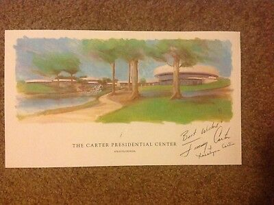 Jimmy Carter and Rosalynn Carter signed Carter Center lithograph water color