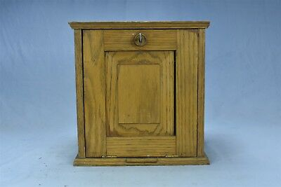 Antique GOLDEN OAK DESK TOP or WALL MOUNT CABINET CASE w KEY & PULL OUT #05101