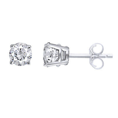 1/2 Ct Round Genuine Diamond Stud Earrings 14K White Or Yellow Gold