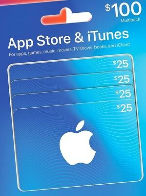 Apple APPs & iTunes gift cards ( 4x $25=$100 ) -  Physical Card