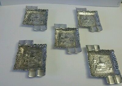 Set of 5 Interesting 800 Silver Germany Antique Ashtray