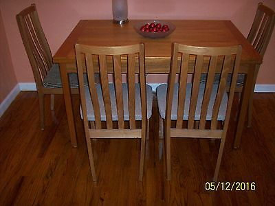 Vintage Danish Teak Dining Room Table With Extensions And Four Chairs