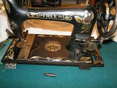 Vintage Antique Free No.5 Sewing Machine Parts Only Not Working