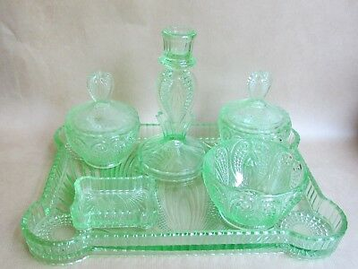ART DECO GREEN MOULDED GLASS DRESSING TABLE SET (Ref3708)