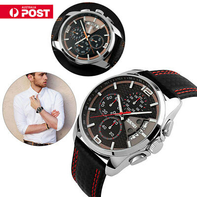 SKMEI Mens Leather Waterproof Sport Watches Luxury Date Quartz Chronograph Watch