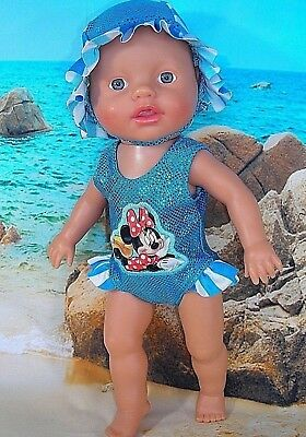 """Dolls clothes for 13"""" Little Baby Born Doll~MINNIE MOUSE AQUA SWIMMING COSTUME"""