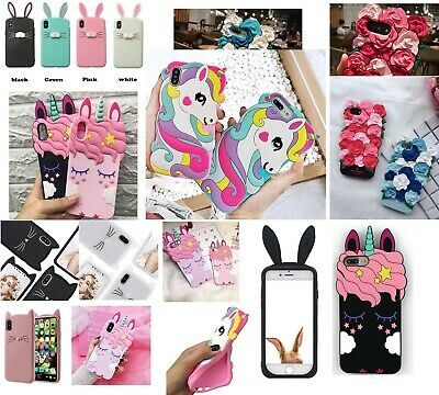 3D bunny unicorn kitty protection tpu Case for iphone X XS MAX XR 6 6S 7 8 plus