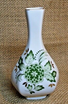 Elegant Bud Vase Hollohaza Hungary No. 30 Green Floral with Gold Accents