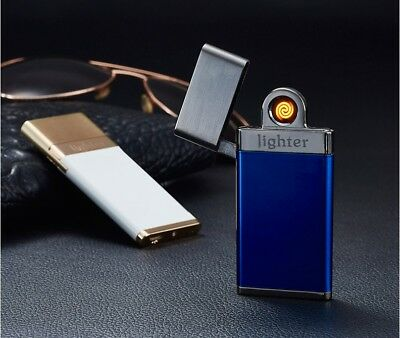 USB Rechargeable Electric Pulse Cigarette Lighter Windproof Flameless Slim Xmas