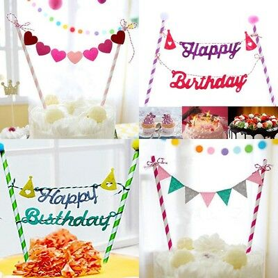 Cake Topper Flag Garland Banner Picks Bunting Happy Birthday Scallops DIY Decor