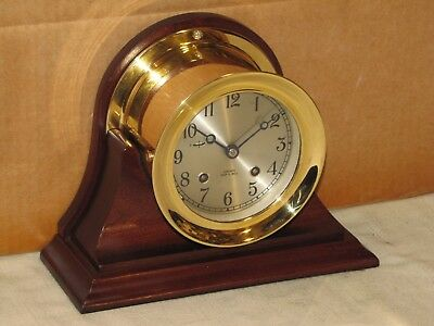 "Chelsea Antique Ships Bell Clock~4 1/2"" Model~Hinged Bezel~1990~Restored"