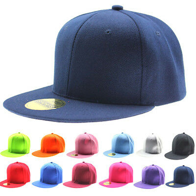 Kids Adjustable Hip-Hop Baseball Cap Boys Girls Snapback Fitted Canvas Hat AU