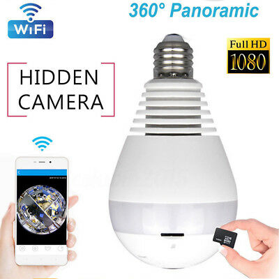 1080P HD Wifi IP Camera 360°Panoramic Hidden Wireless Light Bulb Camcorder Cam