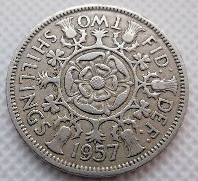 1957 British Empire Qeii Two Shilling Coin Great Detail Vf+ Scarce