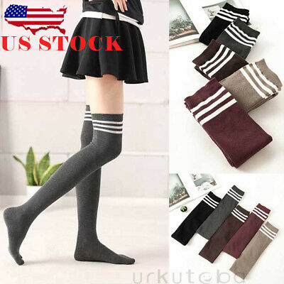 940760af7 Women Cable Knit Extra Long Boot Socks Over Knee Thigh High School Girl  Stocking