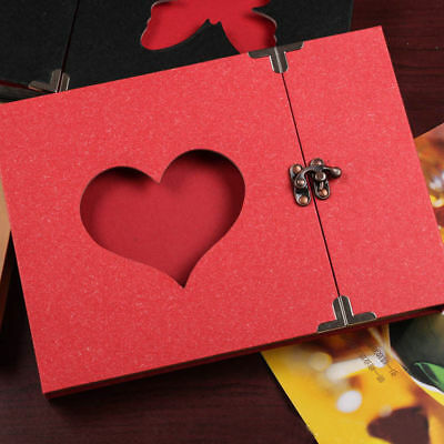 Vintage DIY Scrapbook Album Love Heart Hollow Out With Lock Hard Cover Gifts AU