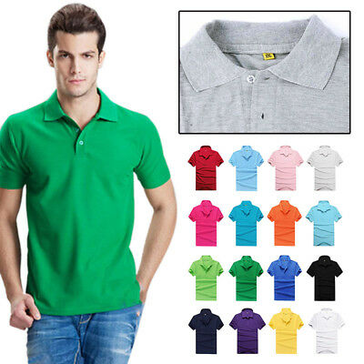 Men's Short Sleeve V-neck Shirt Casual Cotton Slim Fit Polos Shirt Tee AU