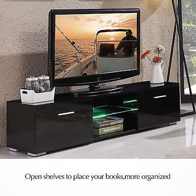"""63"""" TV Stand High Gloss Unit Cabinet with LED Light Shelves 2 Drawers Console BT"""