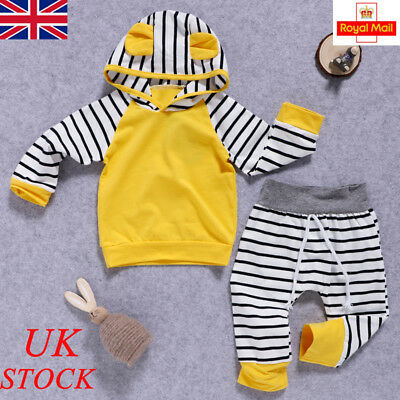 UK Baby Boy Girl Hooded Hoodies Jumpsuit Bodysuit Newborn Clothes Romper Outfits