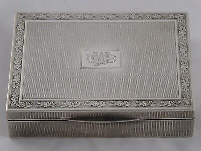 Superb Smart Art Deco Solid Sterling Silver Cigarette / Trinket Box 1923