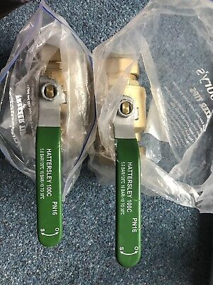2x HATTERSLEY 100C LEVERSOPERATED PN16 BRASS BALL VALVE 54MM HEAVY DUTY+More