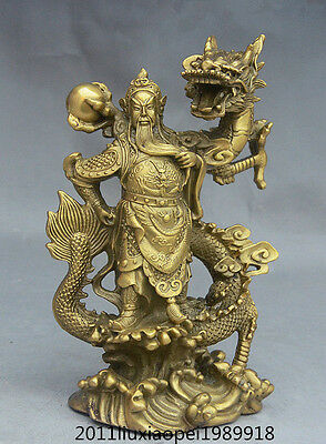 "9"" Chinese FengShui Brass General Warrior Guan Gong GuanYU On Dragon Statue"