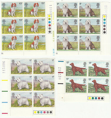 Stamps GB 1979 Dogs Traffic Light Blocks of MNH stamps