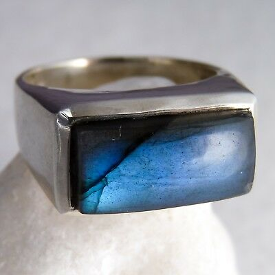 Cast SILVERSARI Gem-Bar Ring Size US 9 Solid 925 Sterling Silver LABRADORITE